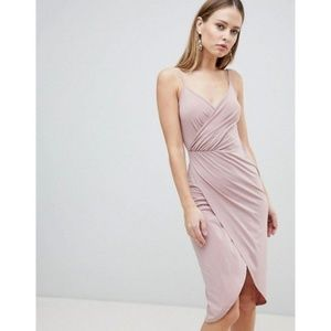 ASOS DESIGN Cami Drape Cowl Back Slinky Midi Dress